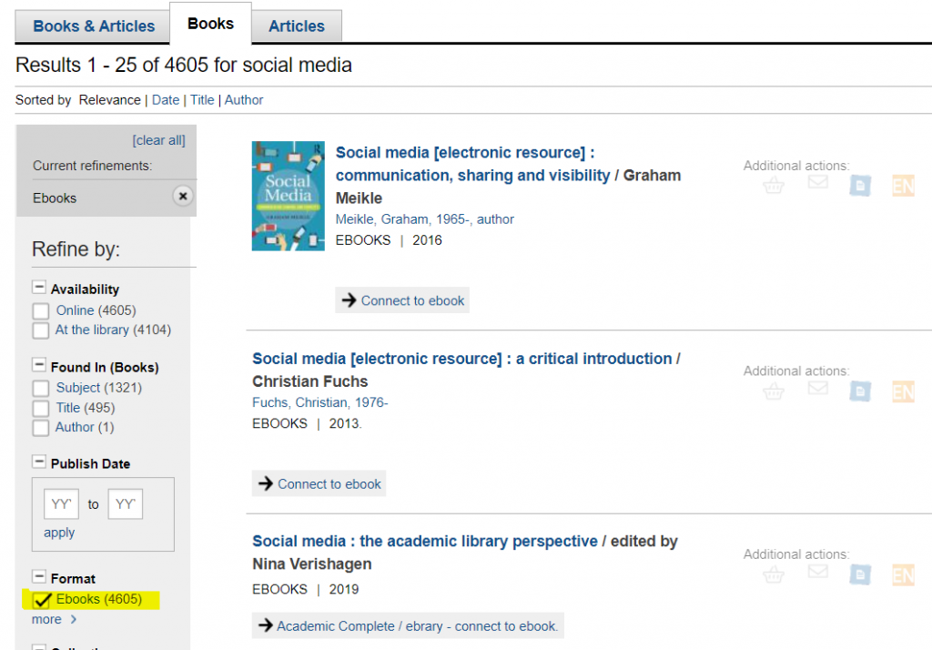 Library catalogue search for ebooks
